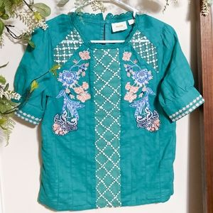 🦋2 for $25 Anthro Maeve Green Perennial Blouse